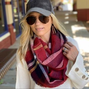 Burgundy Plaid Infinity Scarf